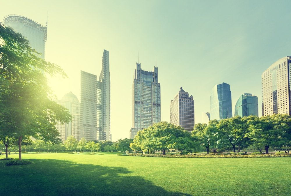 park in lujiazui financial center, Shanghai, China